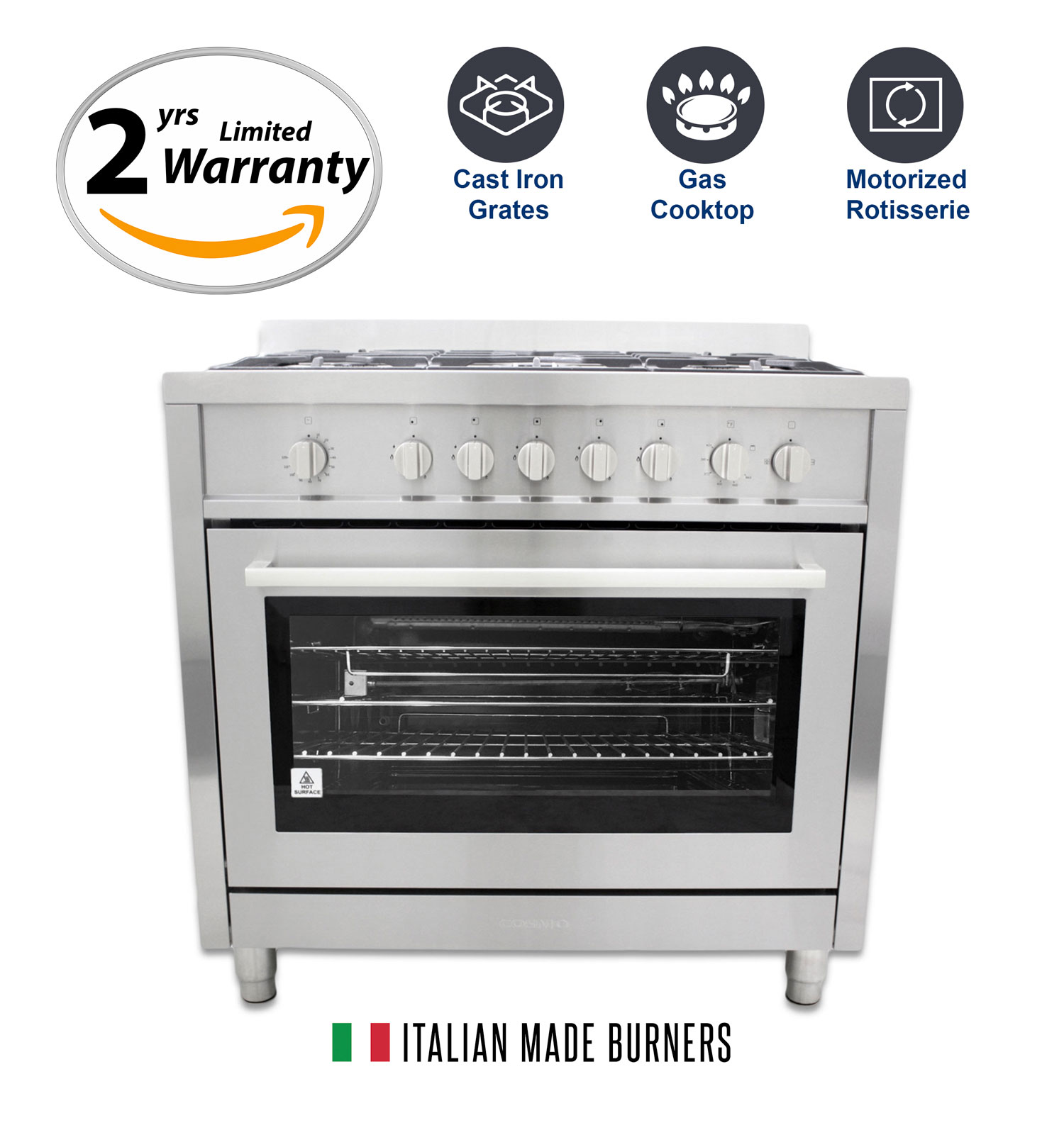 36 in gas range with 5 italian made burners and rotisserie