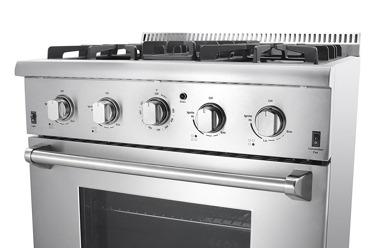 stainless steel gas range with convection
