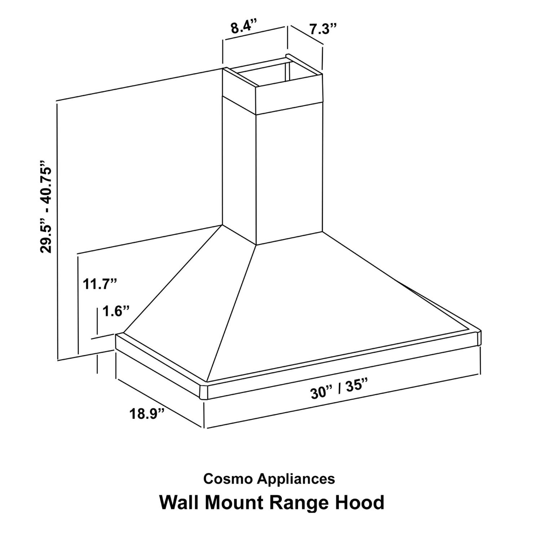 cosmo appliances 30 u0026quot  wall mount range hood  cos