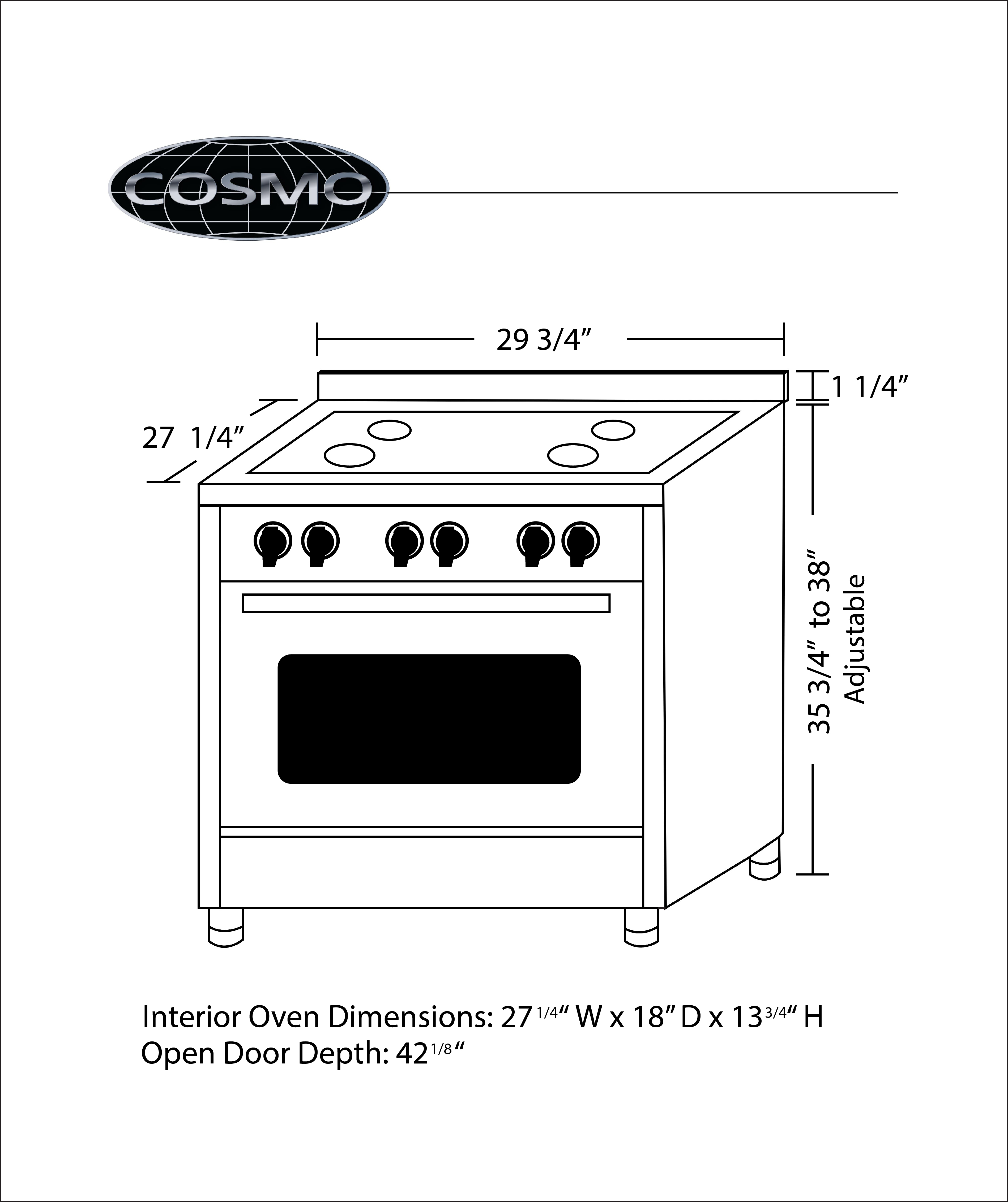 Cosmo COS-DFR304 30 in. Professional Style Gas Range with 3.9 cu. ft.  Electric Convection Oven with Turbo True European Convection, 4 Italian  Made ...