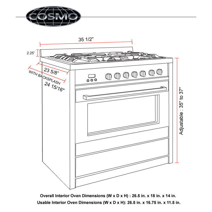36 In 3 8 Cu Ft Stainless Steel Convection Gas Range