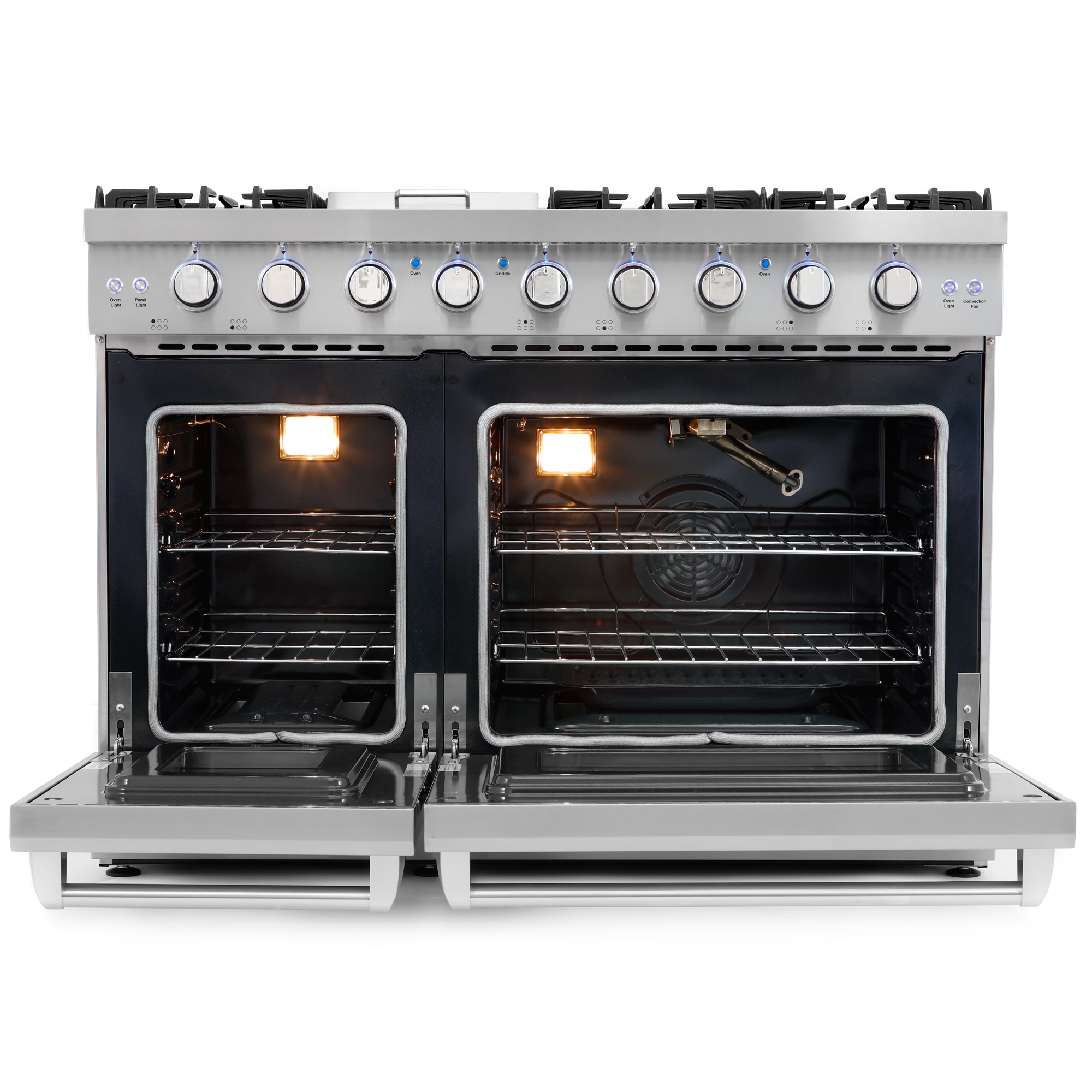 48 in. Slide-In Freestanding Double Oven Gas Range with 6 ...