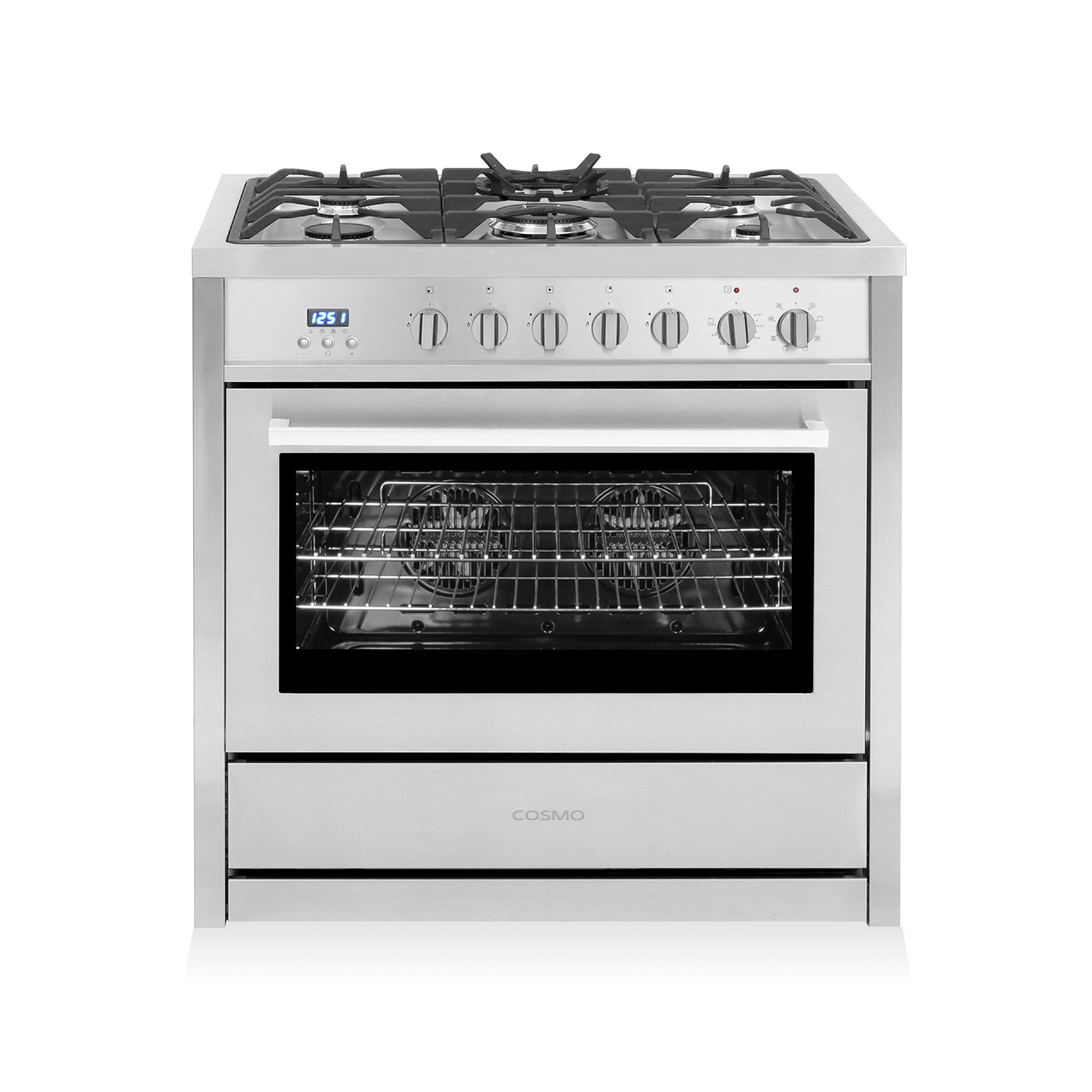 Professional Style Dual Fuel Range With 3 8 Cu Ft Electric Oven Turbo True European Convection 5 High Performance Gas Burners Cast Iron Grates
